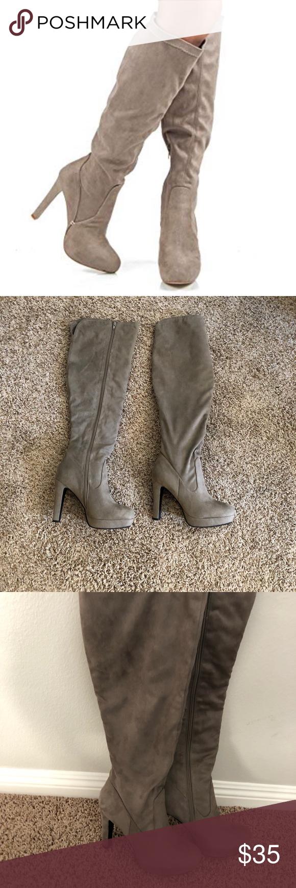 Taupe Knee High Heeled Boots Heeled boots, High heel