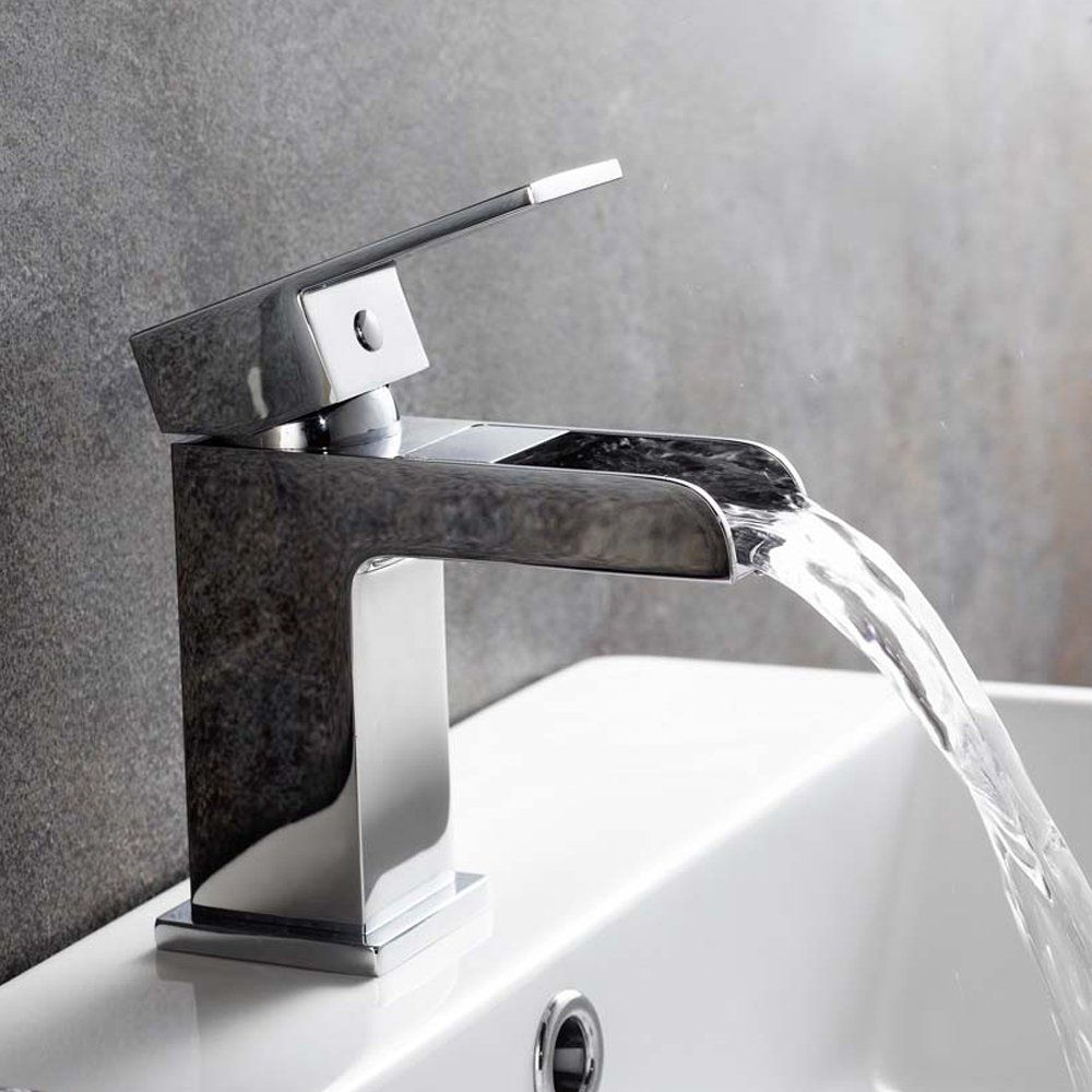 White Bathroom Taps chrome waterfall basin sink mixer tap modern luxury bathroom lever