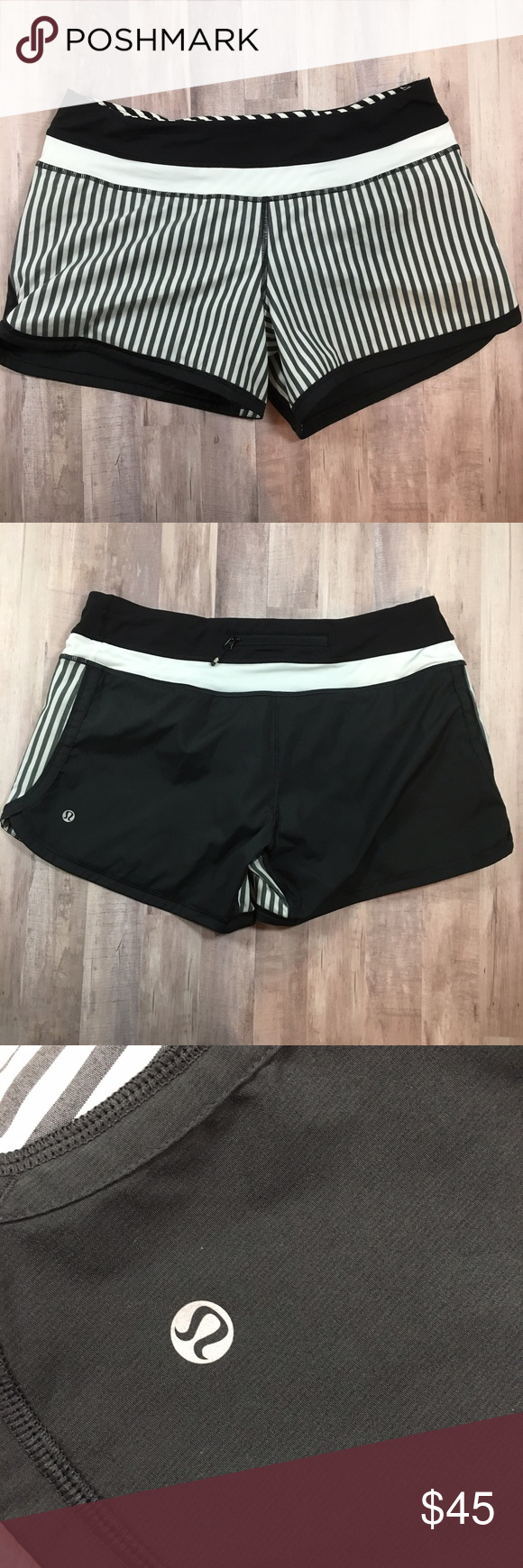 LULULEMON Groovy running shorts black white stripe LULULEMON Groovy lined running shorts in black & white striped. Worn once. Tear tag removed. Size dot in zip pocket. Size 8. lululemon athletica Shorts