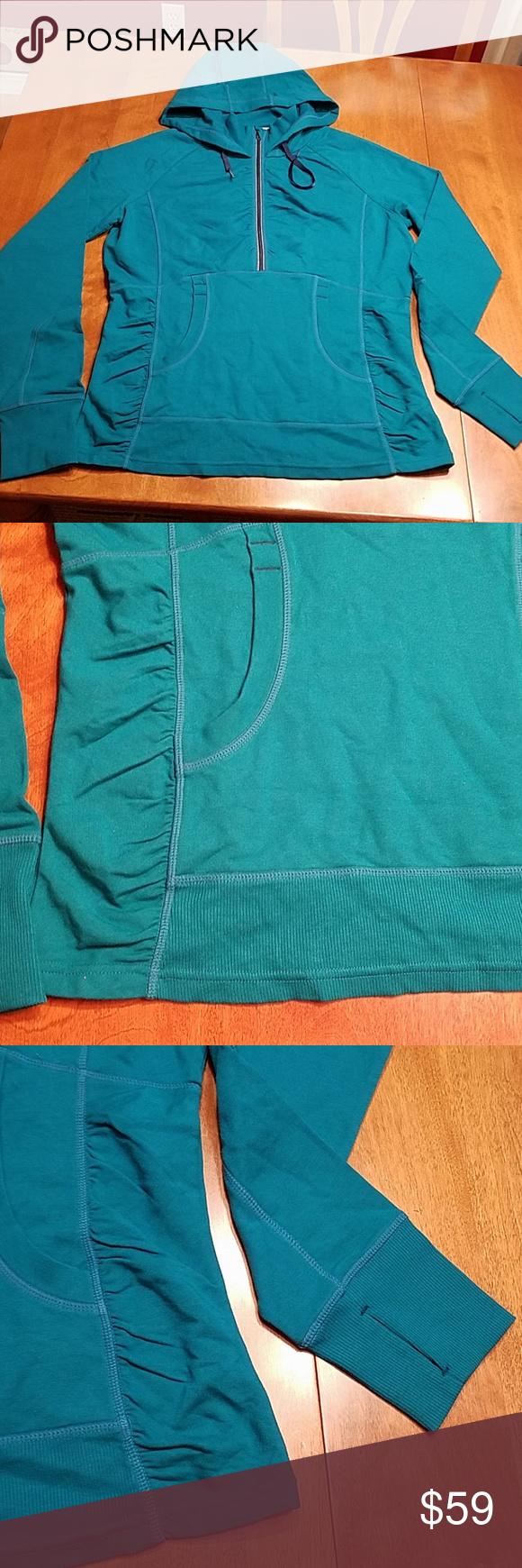 Athleta teal green long hoodie large Long hoodie, Long