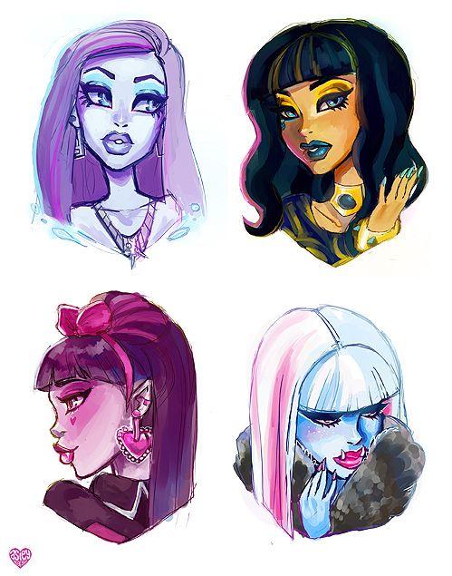 Spectra Vondergeist, Cleo DeNile, Draculaura & Abbey Bominable Art ...