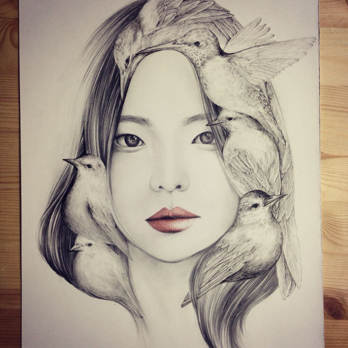 Beautiful Portrait Illustrations The Girl And The Birds By OkArt (+ Process Shots) | Seoul ...
