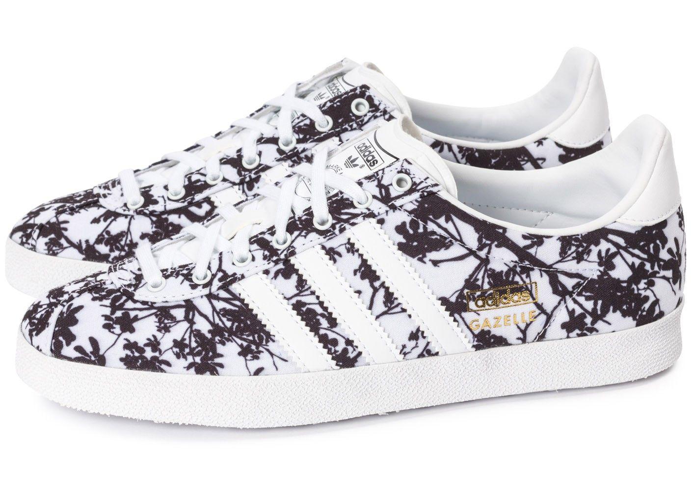 Chaussures adidas Gazelle Og Floral blanche et noire vue