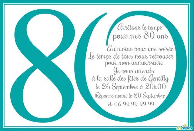 Invitation anniversaire 80 ans 123 cartes deco - Carte anniversaire 80 ans gratuite a imprimer ...
