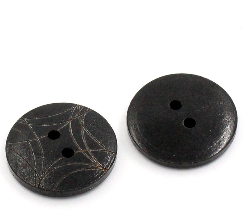 ZARABE 50PCs Black Pattern Round 2 Holes Wood Sewing Buttons Scrapbooking 23mm Dia. ** Click image for more details.