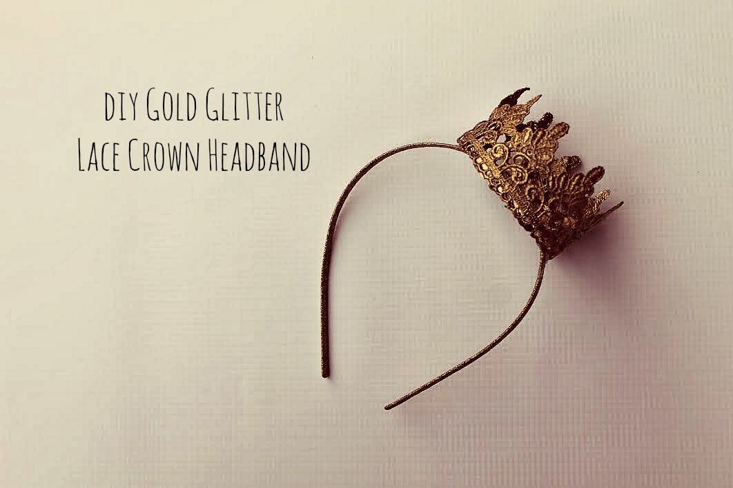 Being Mvp Diy Gold Glitter Lace Crown Headband Tutorial