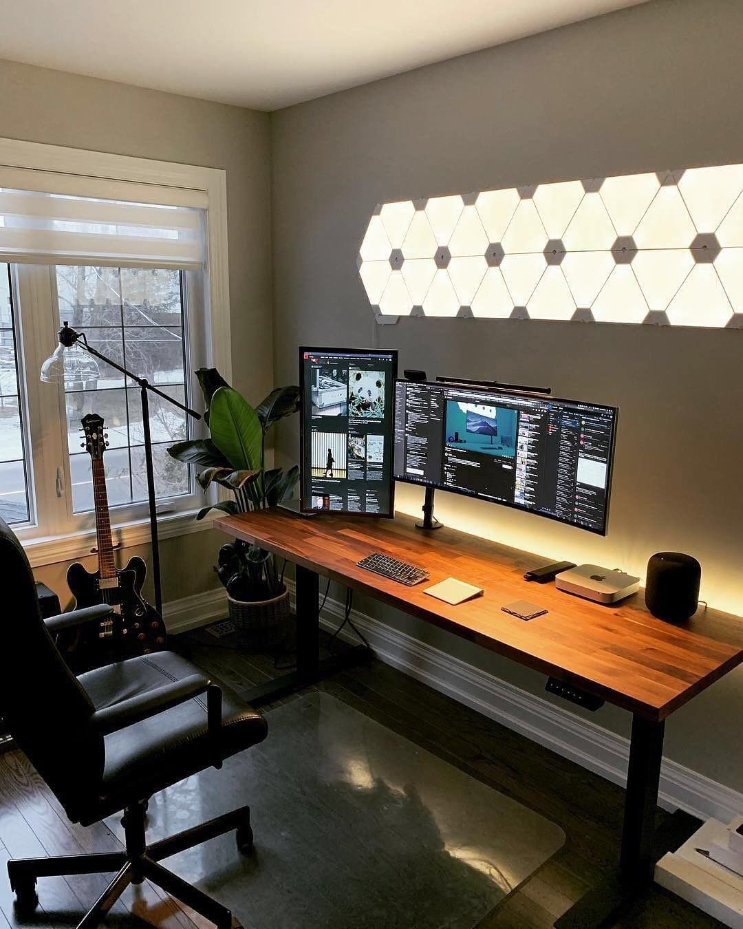 Great Home Office Setup By Mrisad Nanoleaf Light Panels Look Quite Cool When They Re Set To White Like This Home Office Setup Room Setup Bedroom Setup