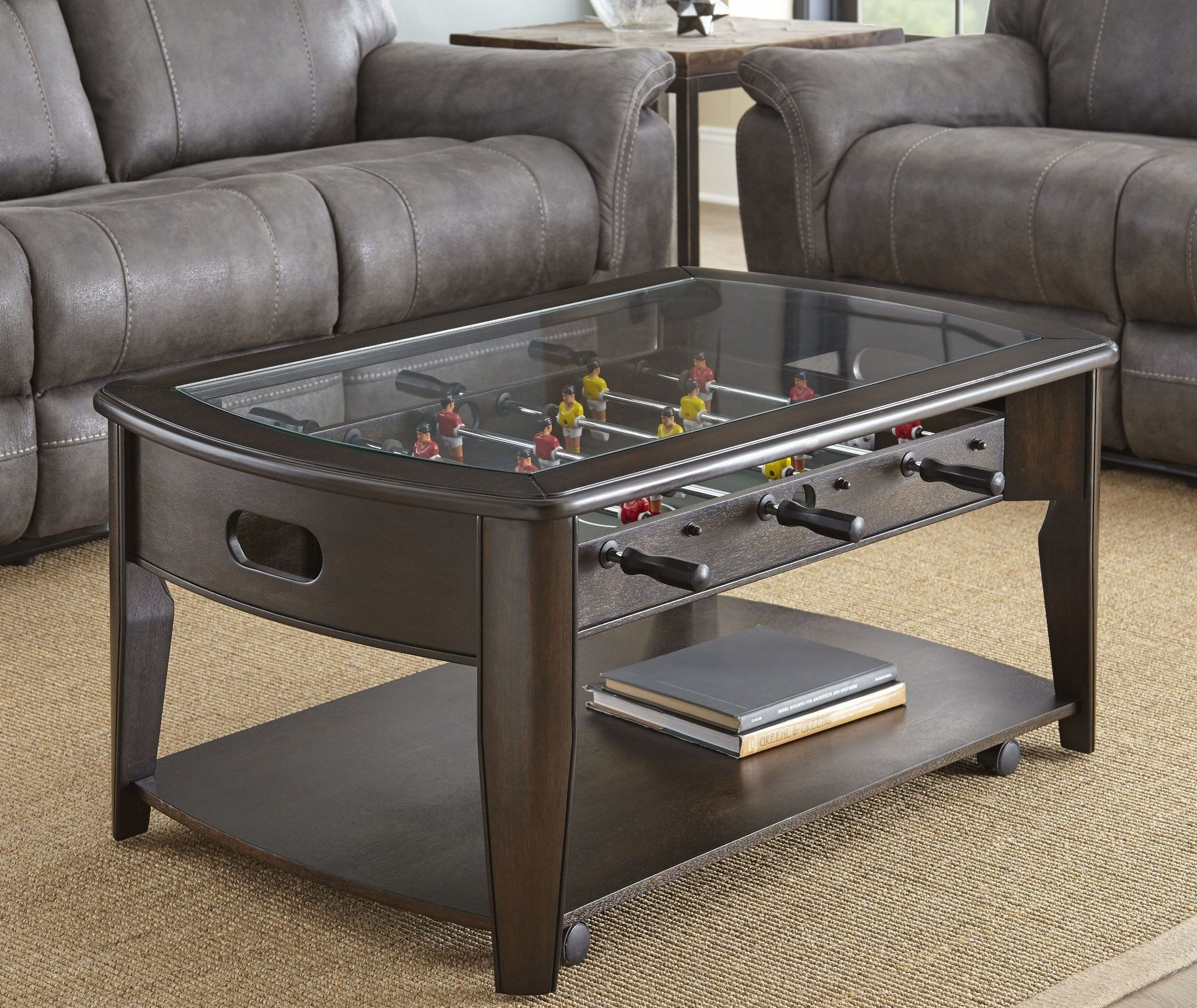 Dark Walnut Brown Coffee Table With Foosball Diletta Coffee Table Foosball Table Furniture [ 1853 x 2200 Pixel ]