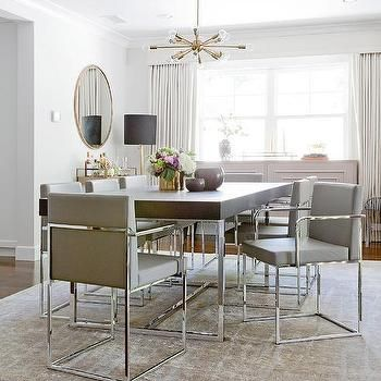 Wood And Chrome Dining Table With Gray Dining Chairs Dining Room Chairs Modern Leather Dining Room Chairs Chrome Dining Table