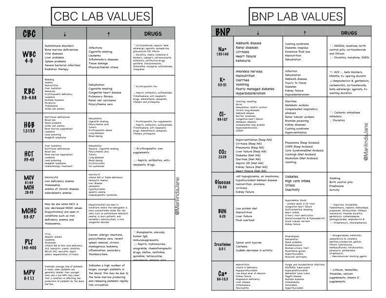 CBC Complete Blood Count BNP Nurse chart Nursing School Rationales - normal lab values chart template
