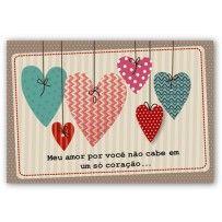 Cartão Romântico Mix Corações pendurados