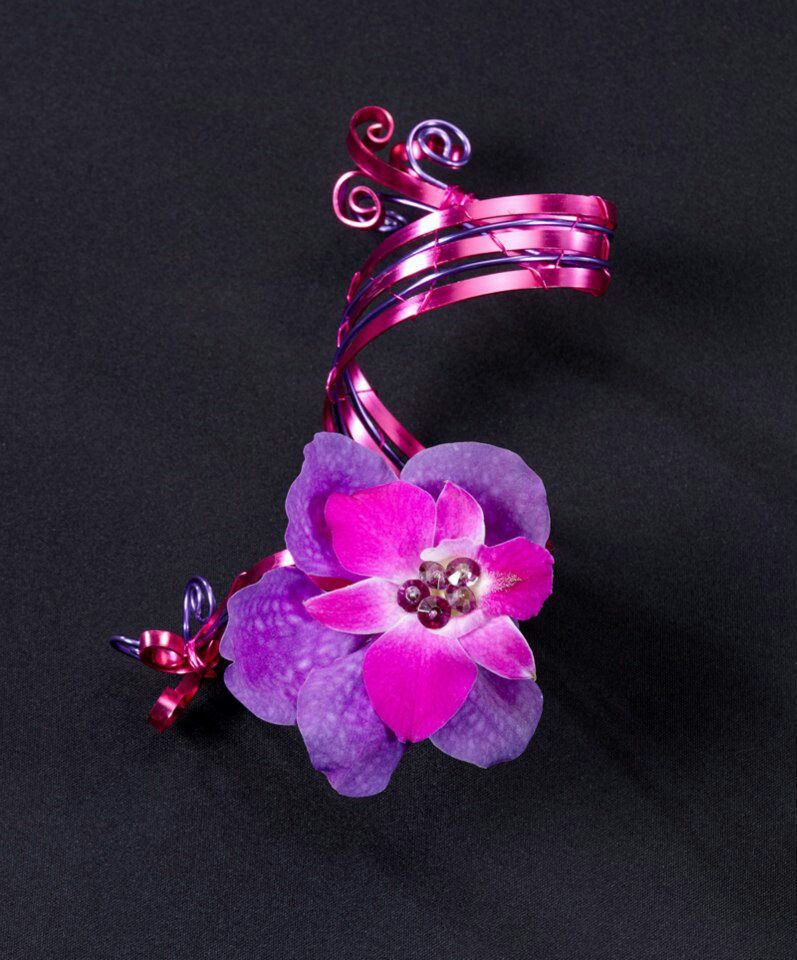 Cuff design made with Oasis flat wire | Prom flower ideas ...