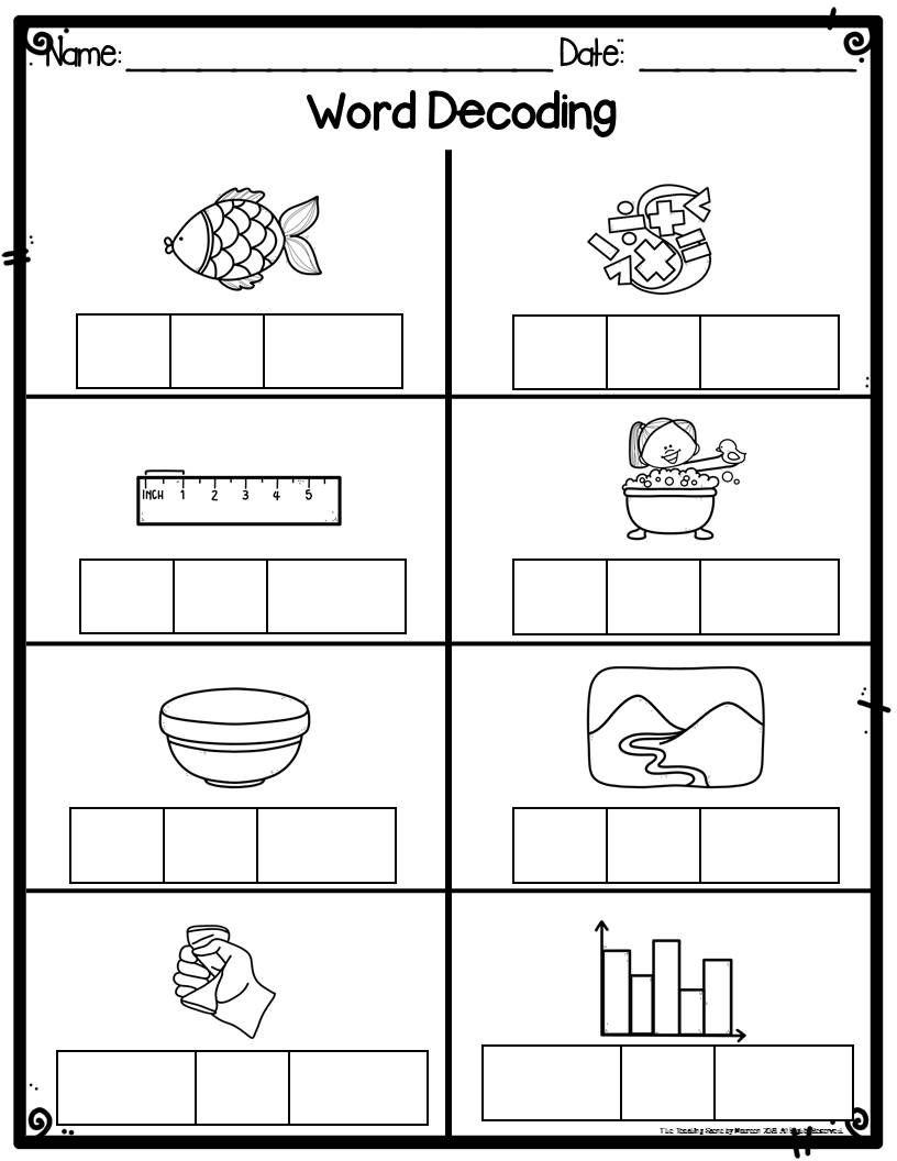 Kindergarten Word Decoding Practice Assessment Worksheets For Kindergarten Special Educ Kindergarten Worksheets Kindergarten Worksheets Printable Worksheets