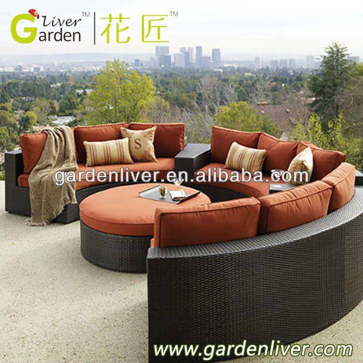 Outdoor Pe Wciker Half Round Sectional Sofa Outdoor