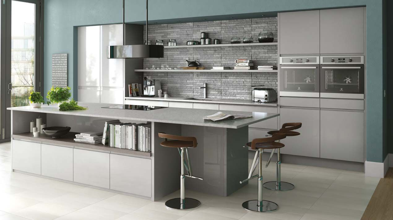 Gloss kitchen in grey gloss handleless kitchen shown in grey but also available in a range of Kitchen design light grey