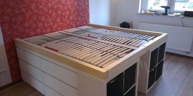 Materialien 3 X Malm Mit 3 Schubladen 4 X Expedit 2 2 Beschreibung Leider Ist Das Schlafzimmer Ikea Bed Hack Ikea Loft Bed Ikea Bed
