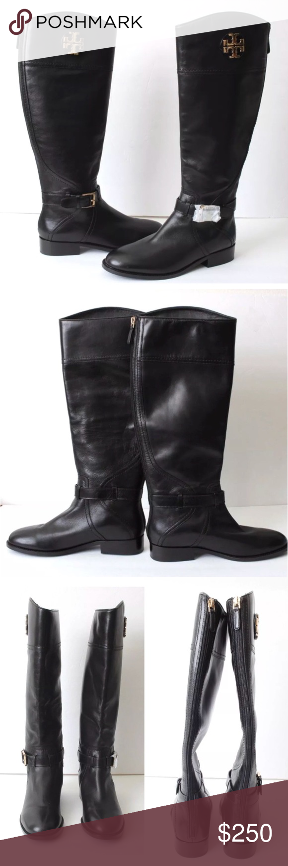 741e7252775 Tory Burch Adeline Black Riding Boots Brand new without original box A gleaming  logo medallion adds