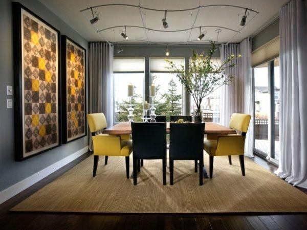 Wohnideen Essbereich wohnideen esszimmer wanddeko gelbe mosaik design