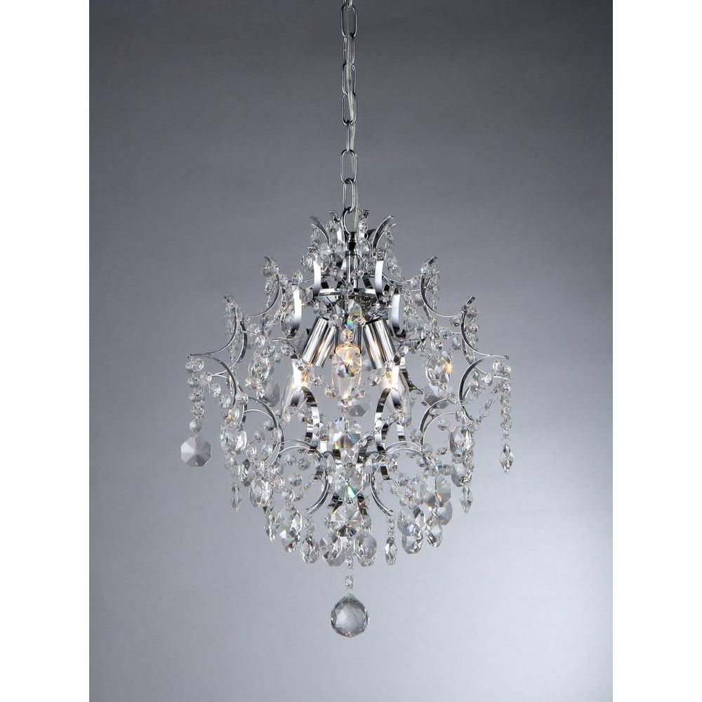 Warehouse Of Tiffany Ellaisse 3 Light Chrome Crystal Chandelier Rl9688 The Home Depot In 2020 Warehouse Of Tiffany Crystal Pendant Lighting Crystal Chandelier