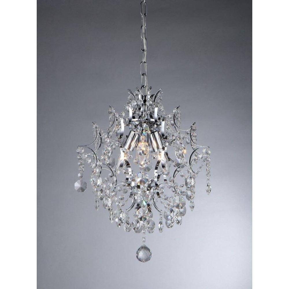 Warehouse Of Tiffany Ellaisse 3 Light Chrome Crystal Chandelier