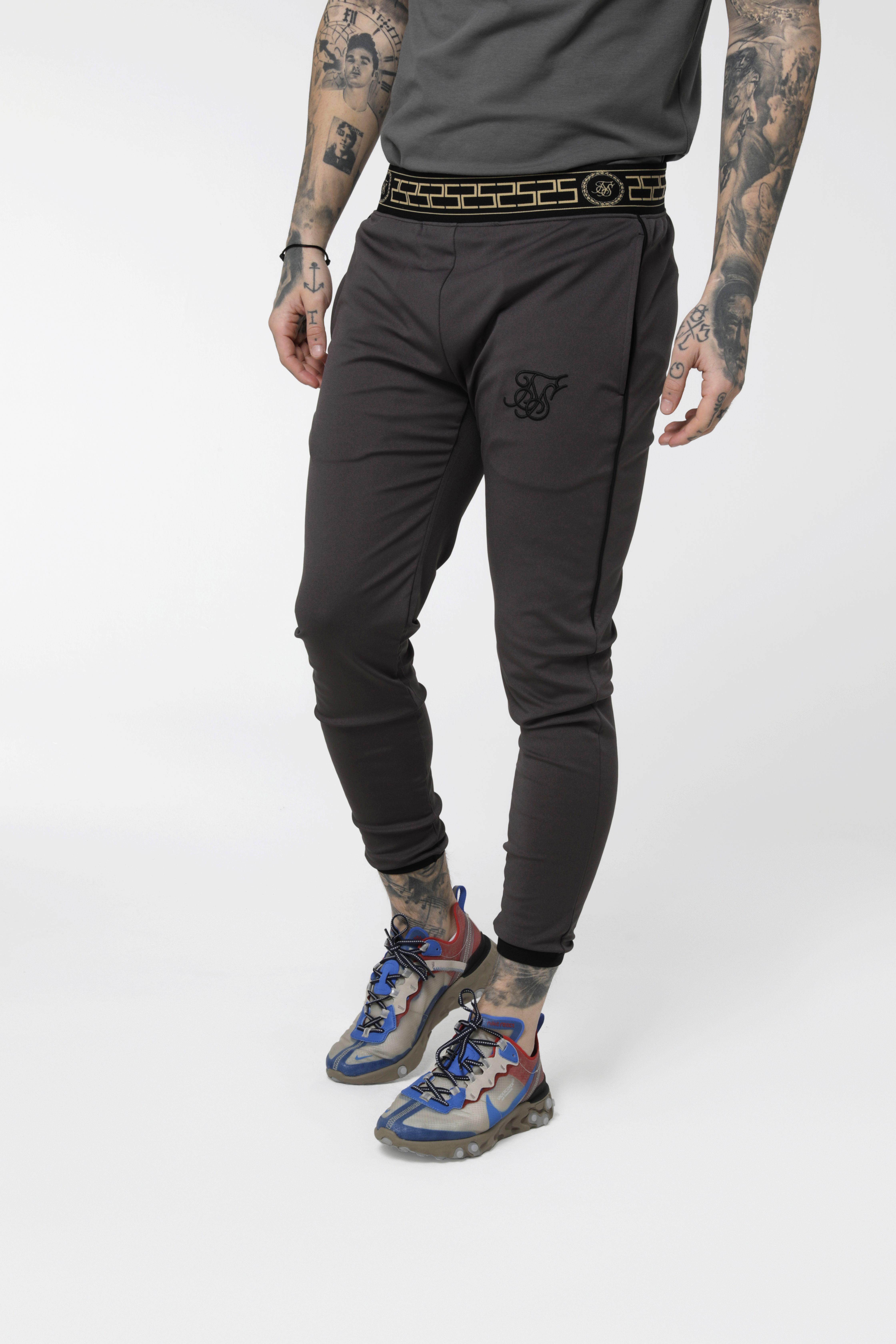 SikSilk Sport Pursuit Tape Cuff Pants Joggers Grey Marl