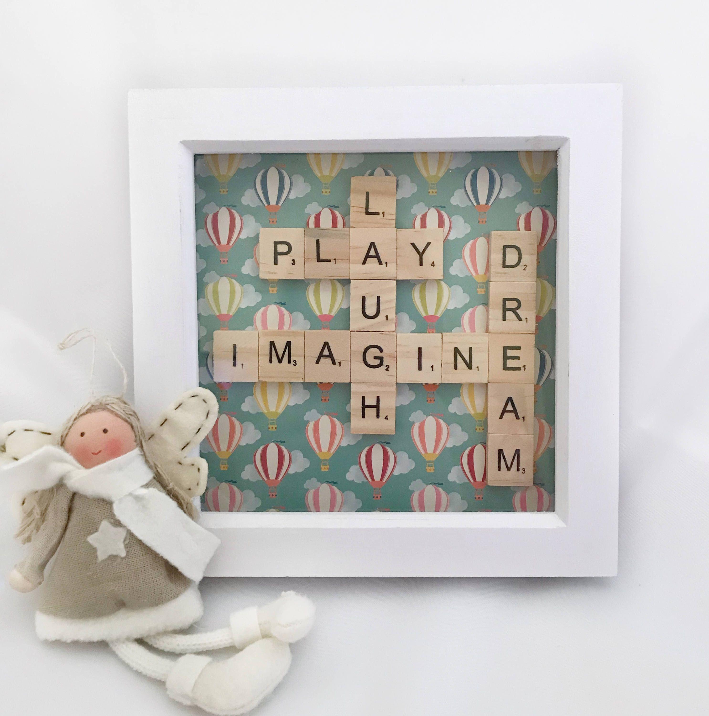 Dream Imagine Scrabble Wall Art Box Frame Gift Idea Great