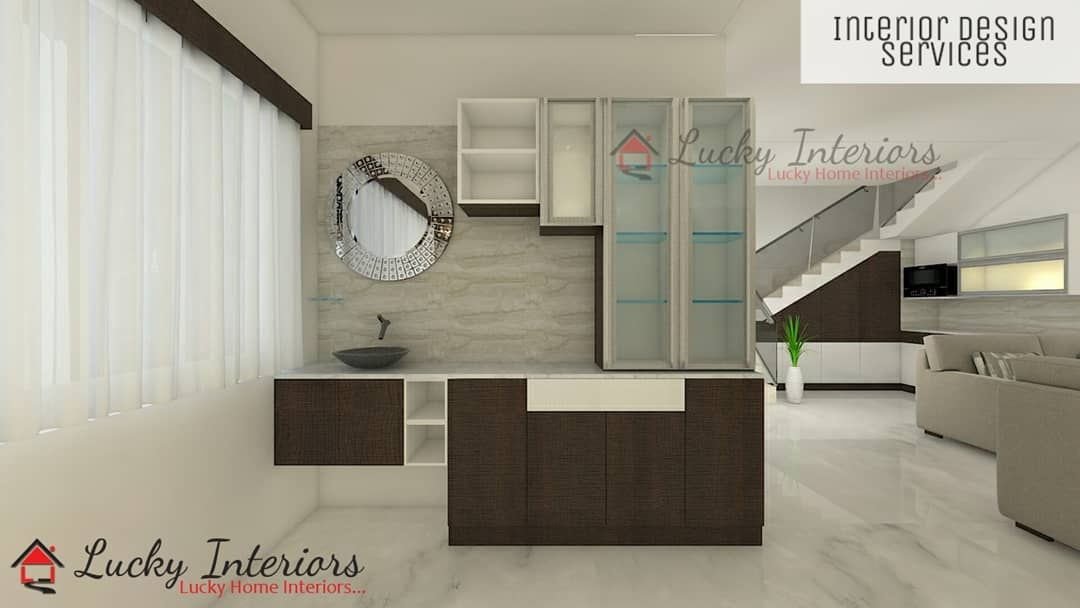 Beautiful Crockery Unit With Great Design This Unit Is Attached With A Wash Basin Unit And More Used Crockery Unit Crockery Cabinet Design Crockery Unit Design Modern dining room washbasin cabinet