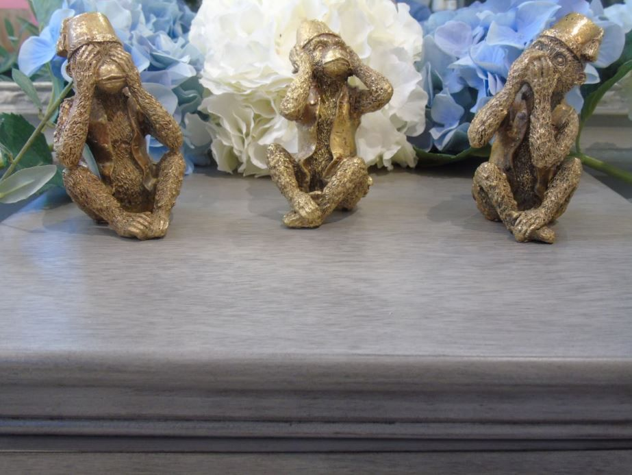 """Speak no, See no, Hear no Evil...""....This gorgeous Set of Three Monkeys would look great on a mantel piece or side board."