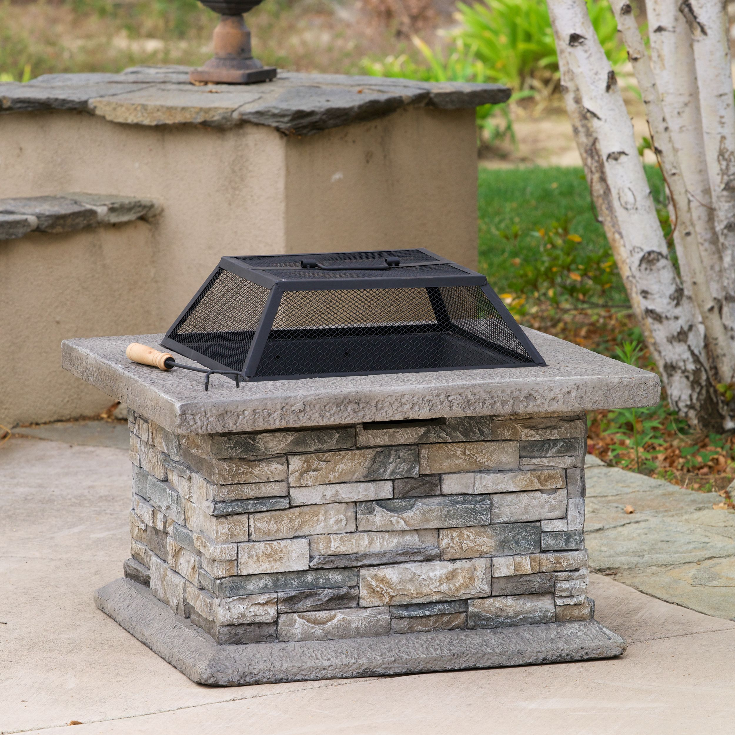 crestline outdoor natural stone fire pit overstocka shopping