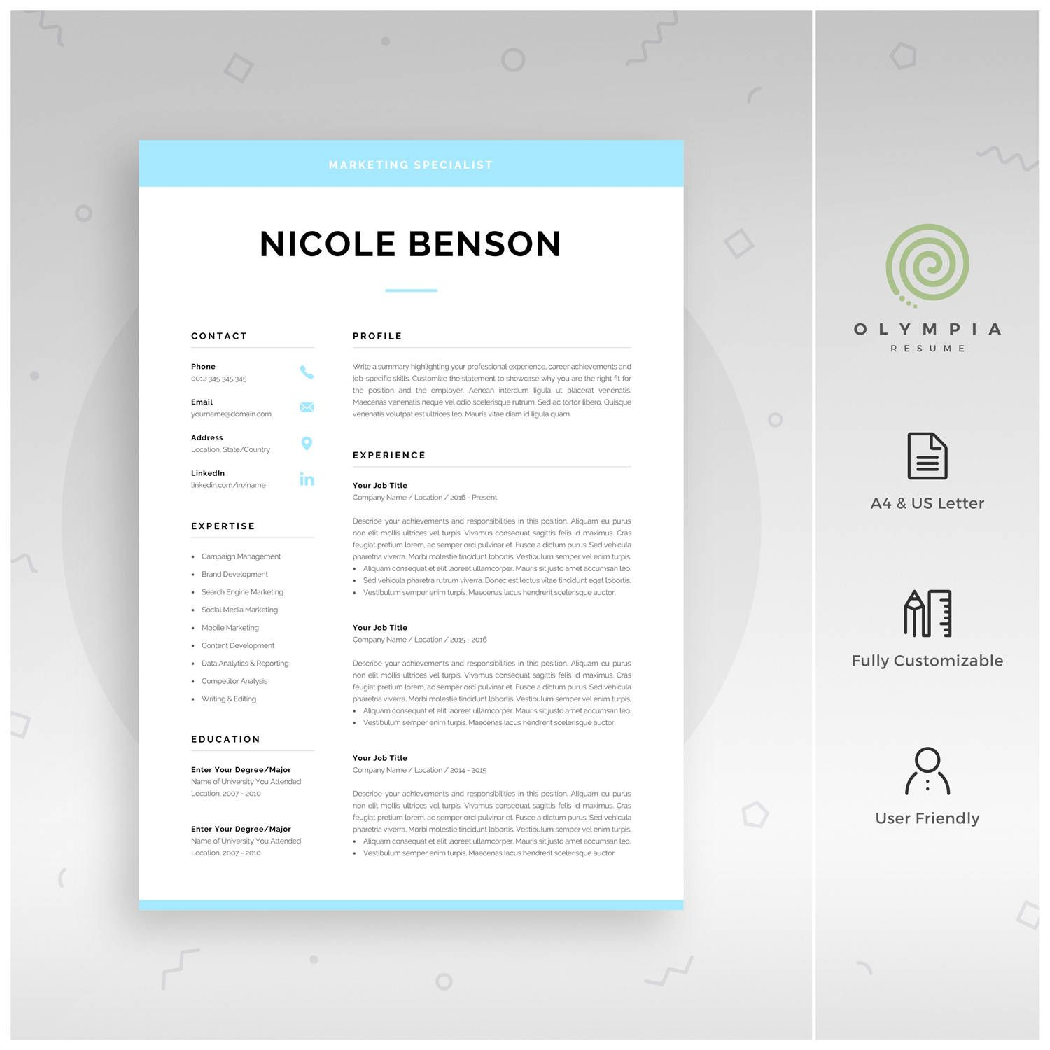 1 Page Resume Fair Creative Resume Template  Modern Cv Template For Word  Instant .
