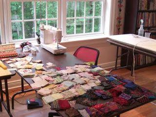 Karen Griska Quilts, all set up for string quilting!