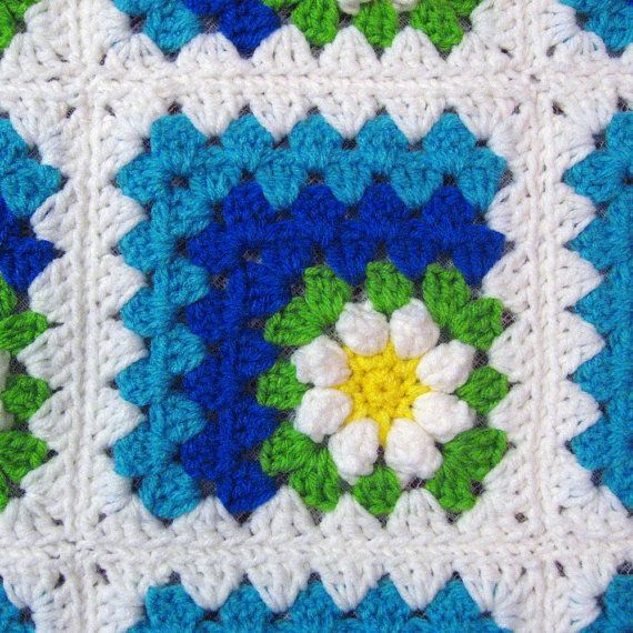 PDF Pattern Crocheted Baby Afghan, Mitered Summer Daisy Baby Afghan ...