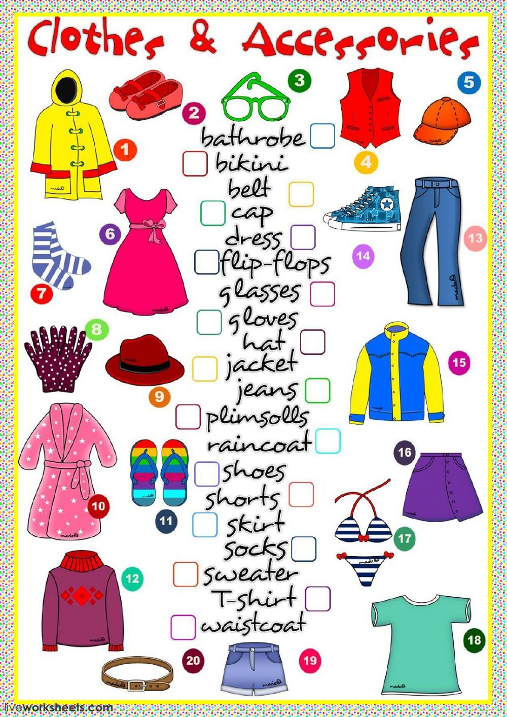 The clothes interactive and downloadable worksheet. You can do the exercises  online or download the worksheet as…   Clothes worksheet [ 1413 x 1000 Pixel ]