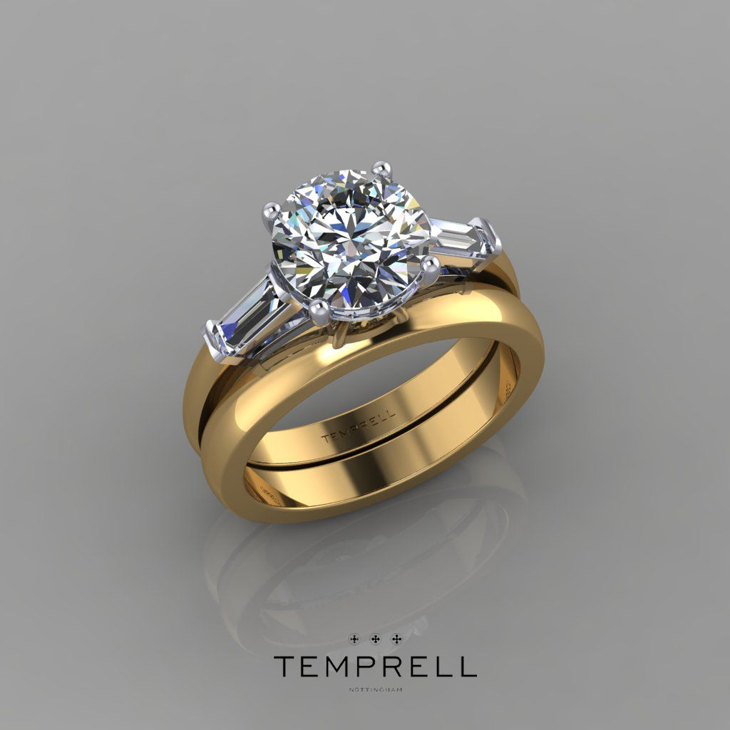 18ct Yellow gold round brilliant cut diamond engagement ...