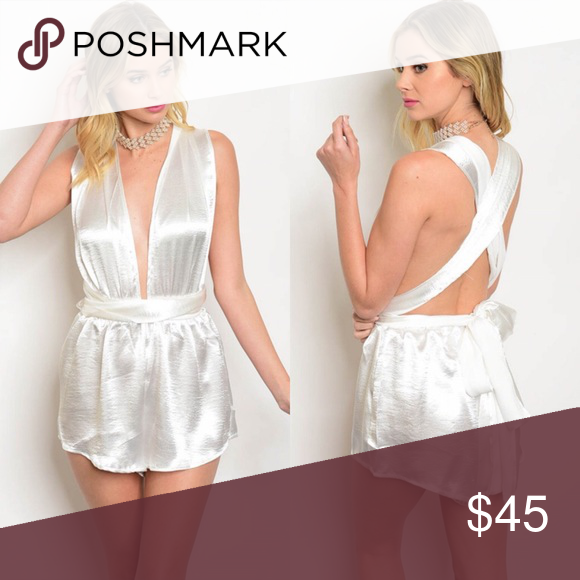 9205cbd4e646 Off-White Satin Convertible Tie-Up Playsuit Romper New with tags. Sexy tie- up satin romper. 🌸65% cotton