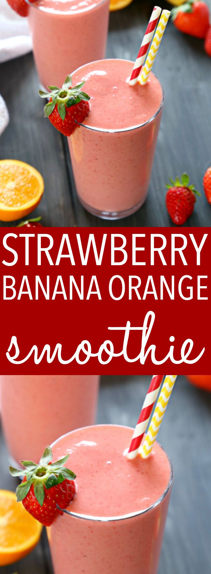 Strawberry Banana Orange Power Smoothie #fruitsmoothie