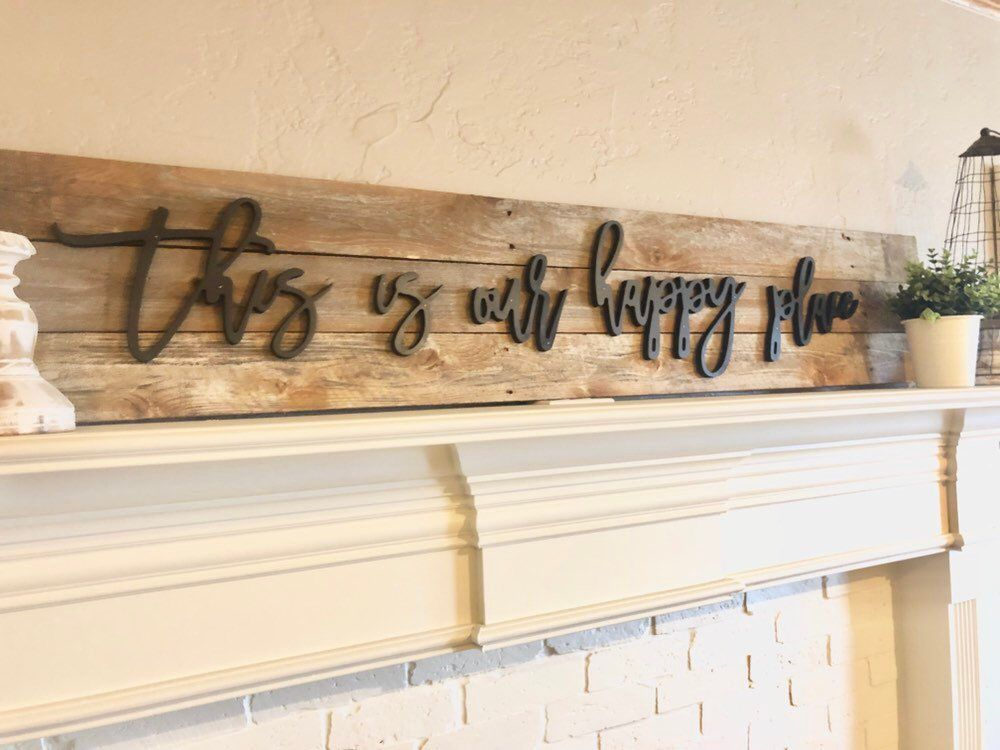 This Is Our Happy Place Wood Wall Phrase Sign Decor Wall Art Wood Letters Unfinshed Wood Words Diy Sign Small Wood Word Wall Decor Decor Wood Letters