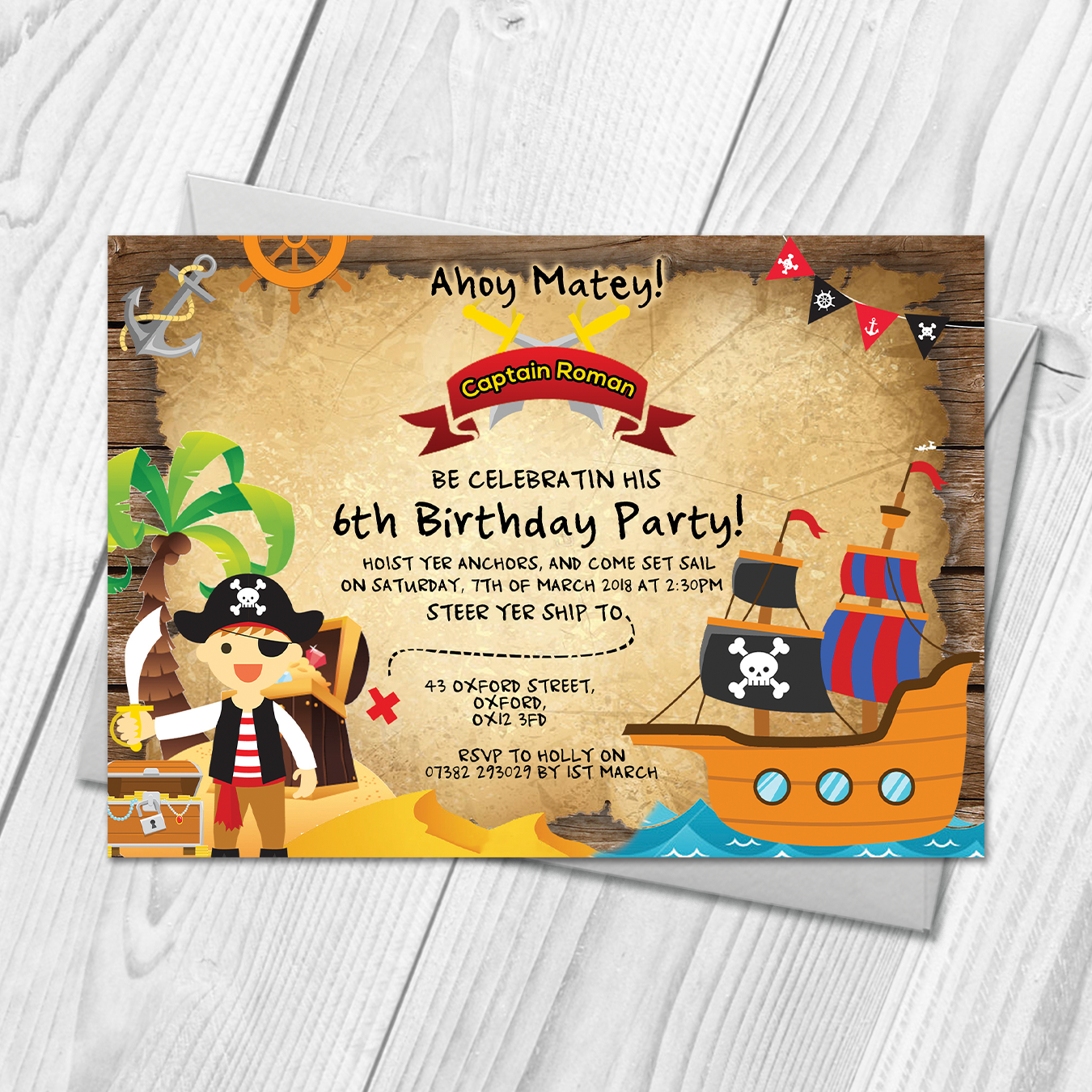 Personalised Kids Pirate Fancy Dress Birthday Party Invitations ...