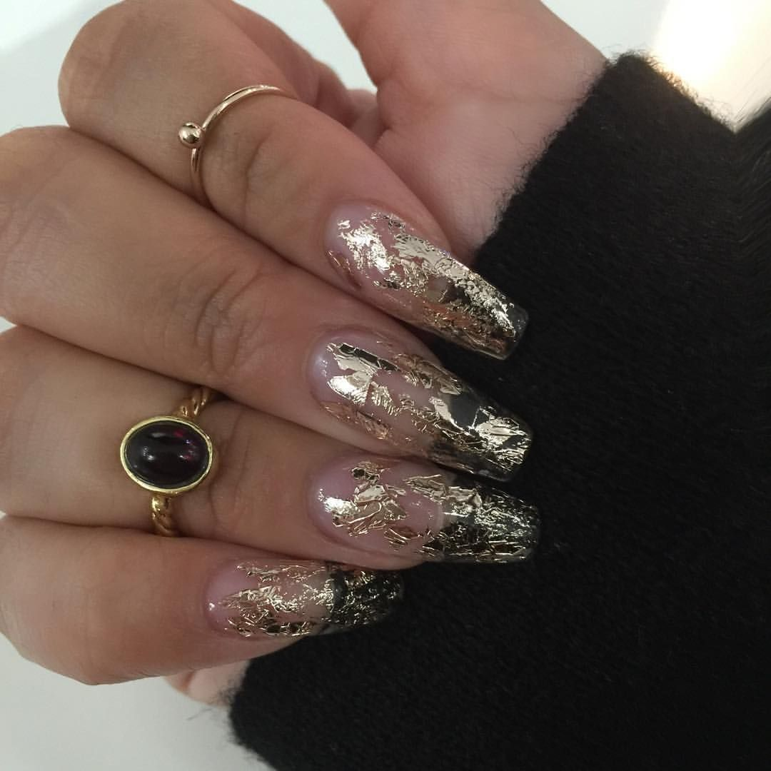 15 amazing foil nails for long and short manicures   Foil nails ...