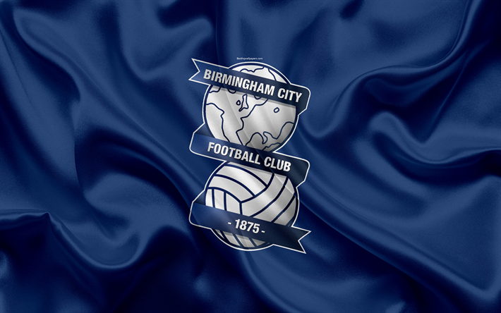 Download Wallpapers Birmingham City FC, Silk Flag, Emblem