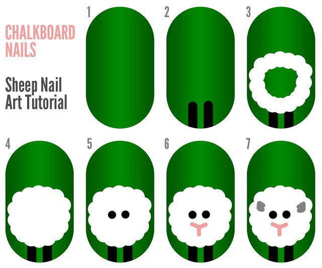 Sheep Nail Art (+ Tutorial)   Pinterest   Diseños de uñas y Esmalte