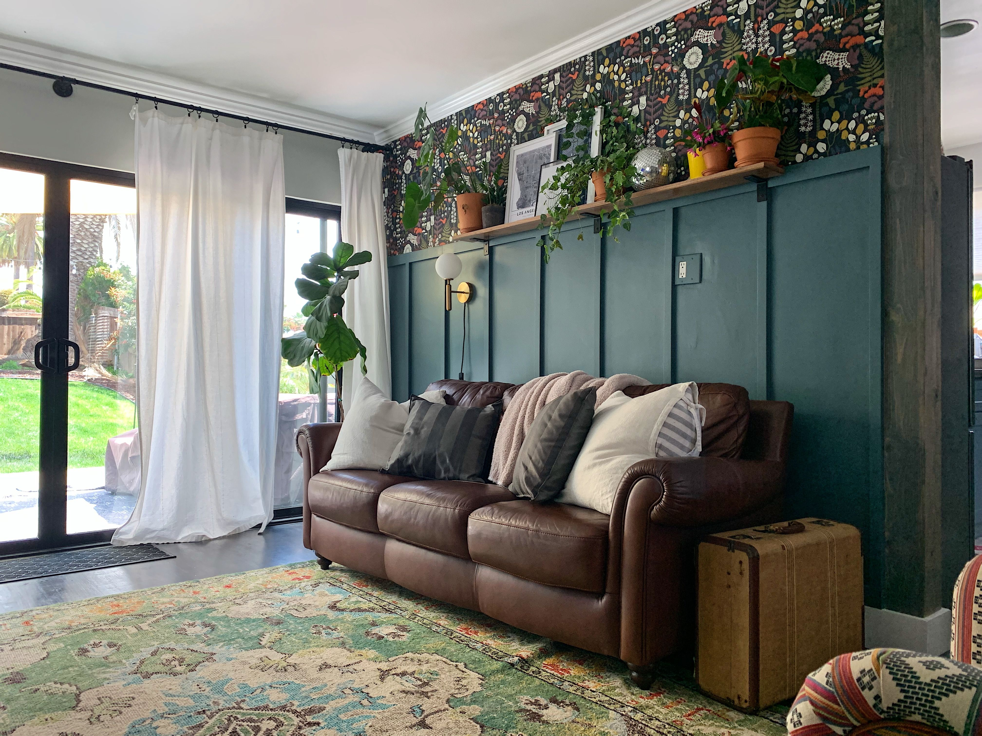 How To Install Board And Batten And Hang Wallpaper To Create The Accent Wall Of Your Dreams Board And Batten Living Dining Room Accent Wall
