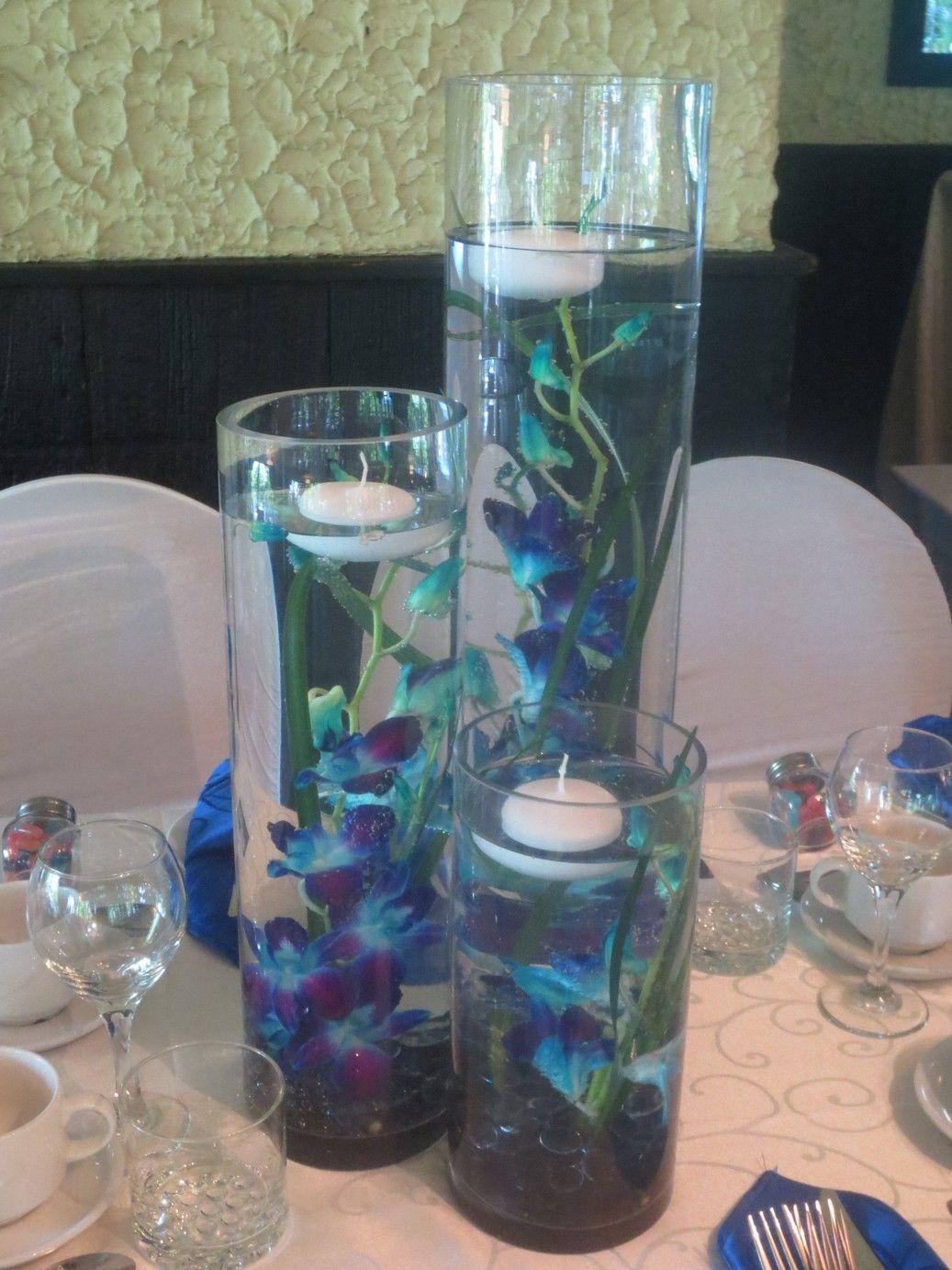 Blue dendrobium orchid vase trio wedding centerpiece