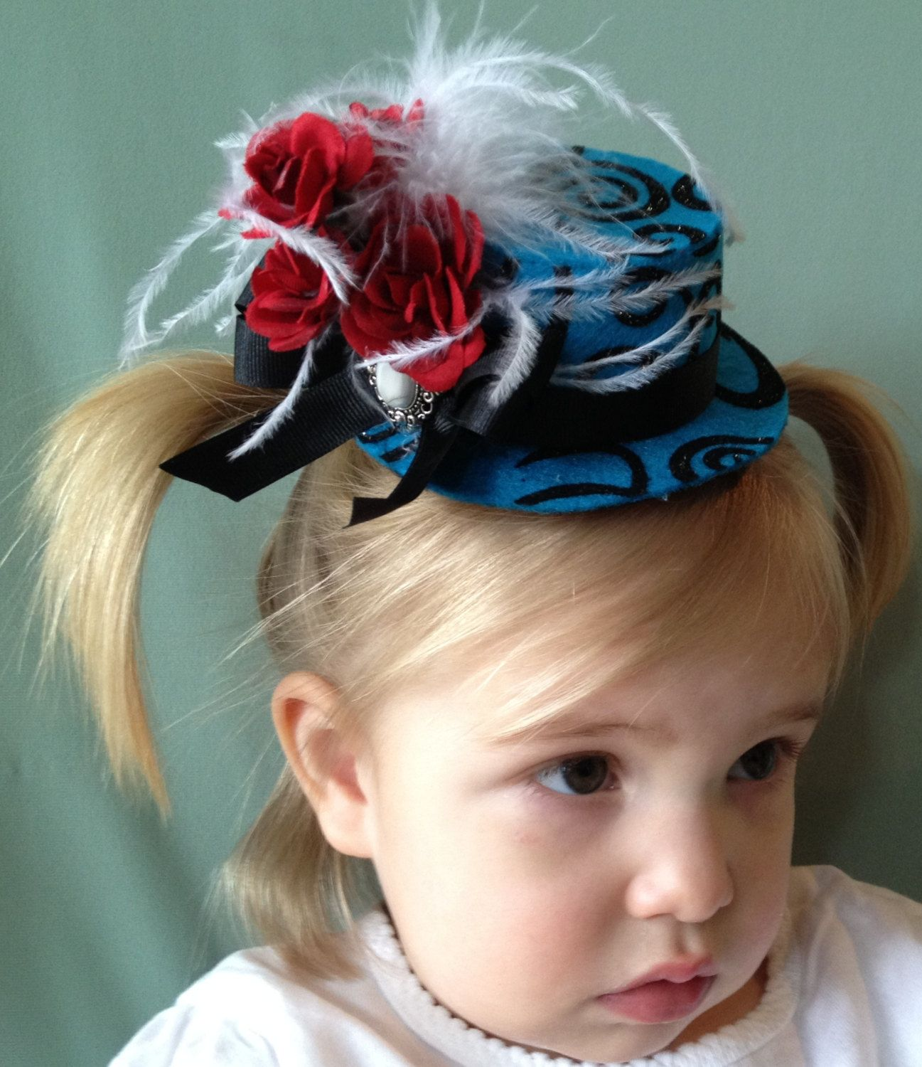 Mini Top Hat Hair Clip Red White Blue And Black 1295 Via Etsy