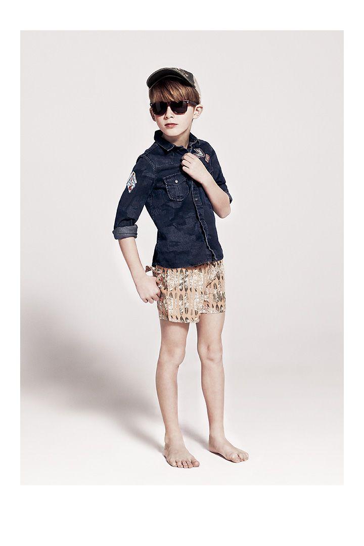 chemise gar on camouflage et short de bain ikks v tements enfant ss14 ikks kid boy. Black Bedroom Furniture Sets. Home Design Ideas