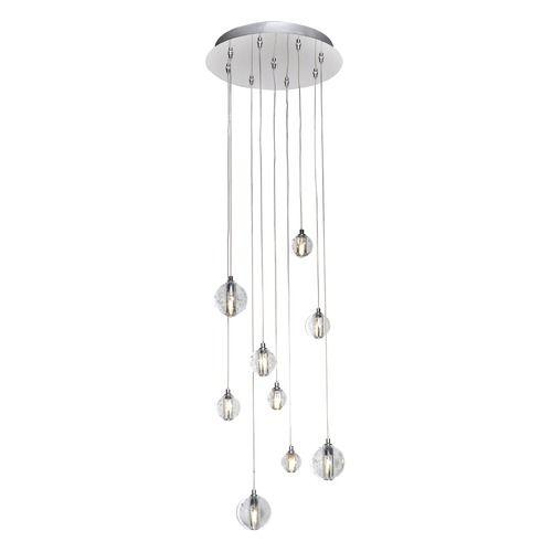 Harmony polished chrome led multi light pendant with globe shade at destination lighting