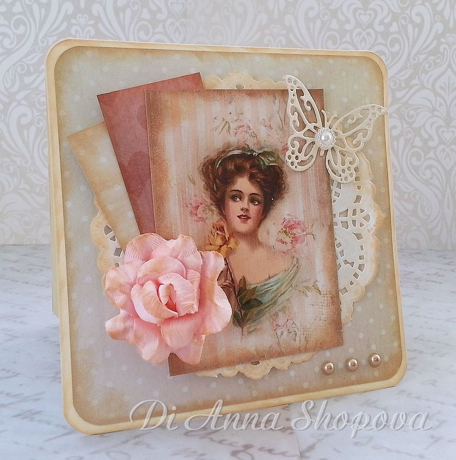 Handmade Birthday card female shabby roses chic vintage luxury – Handmade Luxury Birthday Cards
