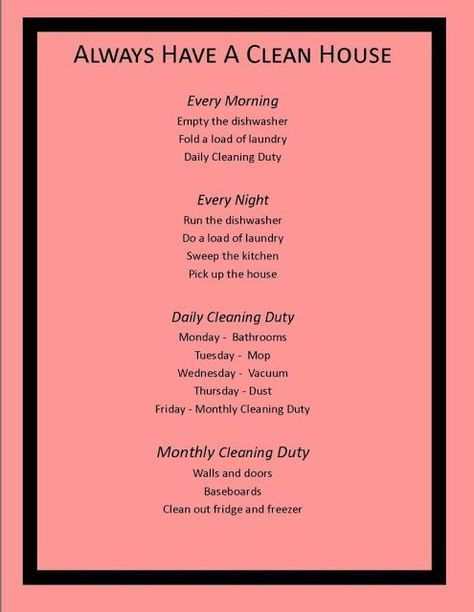 Daily Weekly Monthly Yearly House Cleaning Task Lists Good List