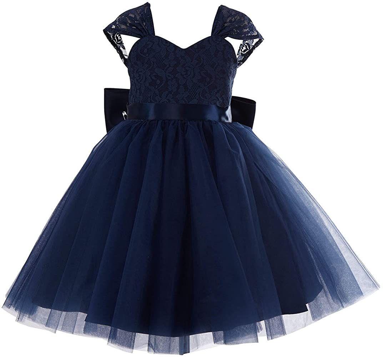 princhar Lace Tulle Flower Girl Dress Wedding Party Formal Girl Dress -   19 dress Flower Girl blue ideas