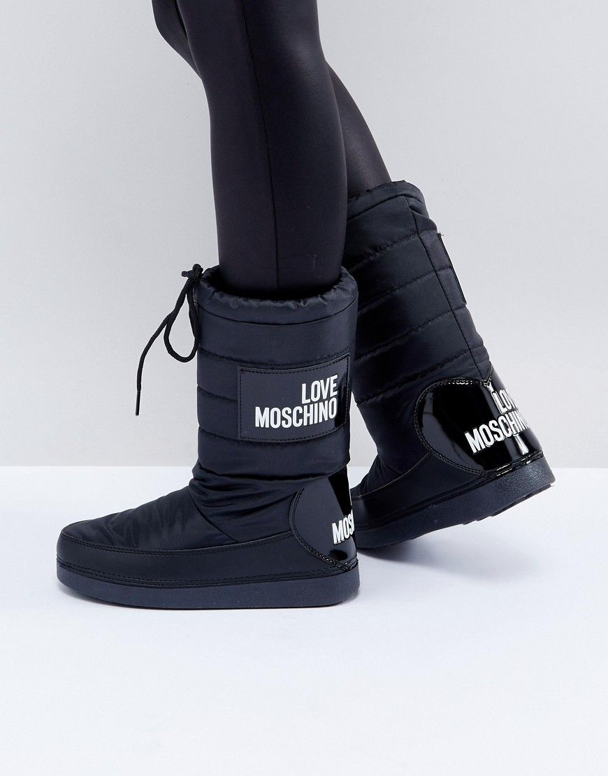 c5b2b0672 Love Moschino Logo Snow Boots - Black | Products | Boots, Shoe boots ...